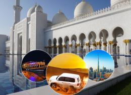 Abu Dhabi + Dubai City Tour + Desert Safari + Marina Cruise Dinner